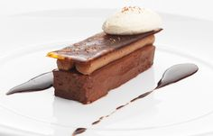 Not sure about health. : Salted chocolate delice with coffee mousse and rum crème fraîche - Geoffrey Smeddle Chocolate Powder, Salted Chocolate, Chocolate Cakes, Sublime Chocolate, Coffee Mousse, Biscuits, Great British Chefs, Plated Desserts, Tray Bakes