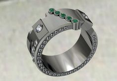 14k White Gold Men's Wedding Band with Diamonds and от VOLISA