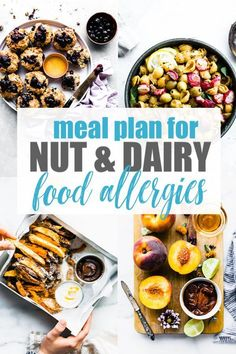 The healthy recipes in this meal plan for nut and dairy allergies include breakfasts, lunches, dinners, and snacks that are nut free and also dairy free! #mealplan #mealprep #glutenfree #healthy #nutfree #dairyfree