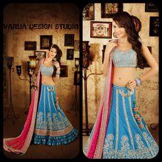 Pre Wedding Indian Lehenga beautifully handcrafted on silk by VARIJA Design Studio,E-4 Defence Colony,New Delhi. Ph:+91-11-40701333