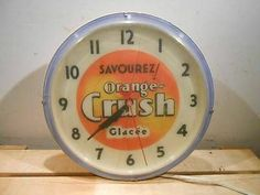 "VINTAGE SAVOUREZ ORANGE CRUSH GLACEE 16"" LIGHTED CLOCK SIGN * RARE"