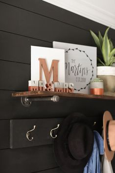 Rose Gold Dipped Concrete Letters that spell out 'MR & MRS'.  A unique gift idea for newlyweds, as an anniversary present, or just a fun addition to your home decor.