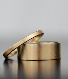 14K gold fat and thin wedding band set - men's or women's 100% recycled wedding bands - simple flat band in your metal choice - eco-friendly