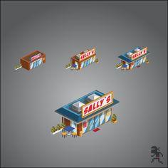 Isometric Buildings by Go Ninja Studio , via Behance