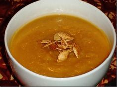 Roasted Pumpkin Apple and Squash Soup  Made Nov 9/12. Nice flavour, apples make it quite sweet.