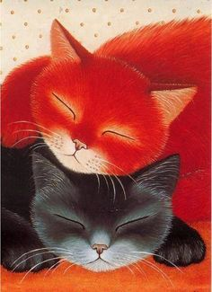 Cats in Art, Illustration, Anna Hollerer Cool Cats, I Love Cats, Crazy Cats, Image Chat, Photo Chat, Tier Fotos, Cat Drawing, Cat Art, Cats And Kittens