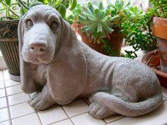 Basset Hound Statue Concrete Dog Figure by WestWindHomeGarden