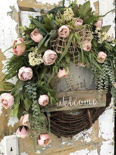 Spring Welcome Wreath Front Door Wreath | Etsy Wreath Crafts, Diy Wreath, Grapevine Wreath, Wreath Ideas, Spring Front Door Wreaths, Spring Wreaths, Country Wreaths, Wedding Wreaths, Welcome Wreath