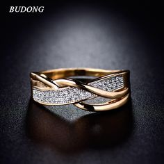 Rings for Women Valentine Present Fashion Spiral CZ Crystal Gold  Plated Mid Ring Cubic Zirconia Promise Jewelry xuR247