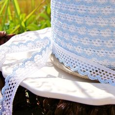 """Flat white edging on one side, scalloped baby blue edging on the other, this scalloped lace edging is sure to make waves when tied around a summer hat or adorning a girl's hairstyle. Baby Blue White Scalloped Lace Edging MADE IN USA Measures ½"""" wide Item# Blue Lace, Blue And White, White Flats, Scalloped Lace, Summer Hats, Baby Blue, Lace Trim, Hairstyle, Sky"""