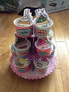 Wow word tubs using self registration labels from Twinkl- FAB! Class Displays, School Displays, Classroom Displays, Working Wall Display, Ks1 Classroom, Classroom Ideas, Classroom Resources, Phonics Lesson Plans, Literacy Display