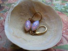 Fire Opal Rhinestones Earrings Pink by MissShugsJewelryShow