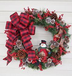 Christmas Wreath Snowman Wreath White Tipped by BrandyByDesignLtd