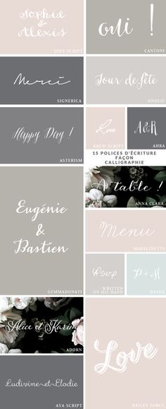 15 script and handwritten fonts --- great for invitations & weddings  //  a few are free for personal use, most for purchase  //  La Mariee Aux Pieds Nus