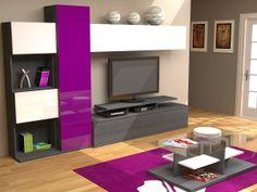 Salón Moderno Apilable, base ceniza en chapa ó laminado gris ceniza, con frente en lacado colores a elegir