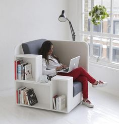 tiny apartment bookcase chair