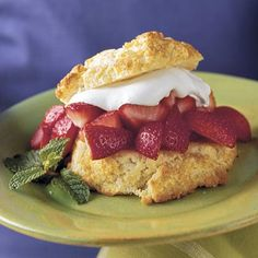 Classic Strawberry Shortcake | With juicy strawberries spooned over sweet and tender biscuits, old-fashioned strawberry shortcakes are the perfect springtime dessert. If the berries are very sweet, decrease the sugar to suit your taste. Drop the dough easily by using a lightly greased 1/3-cup dry measure.