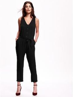 Sleeveless Button-Front Jumpsuit | Old Navy