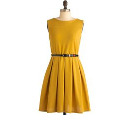 'Tis a Shift to Be Simple Dress in Mustard ($53) ❤ liked on Polyvore