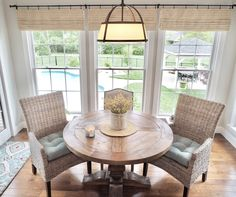 Breakfast room, breakfast nook, windows, Pier1 chairs, Kubu dining armchairs, Restoration Hardware trestle table