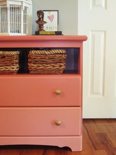 Dresser repurposing! The removal of a drawer and some paint inside and out completely transforms.