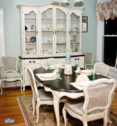 Dining Room Set Makeover - this set was originally a shade of white but had a makeover somewhere along the way to a stained wood finish.  The new owners stripped it back and refinished it into the beautiful antiqued glaze finish we see now.