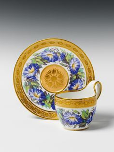 KPM (Berlin,Germany) — Cup and Saucer  wiht  morning glory flower decor, c.1810  (1300x1733)