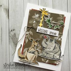 Sneak Peek Animal Outing Stamp Set by Stampin' Up! from the 2018-2019 Annual Catalog for #tgifc155 sketch challenge Baby Card created by Stesha Bloodhart, Stampin' Hoot! #steshabloodhart #stampinhoot