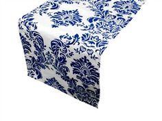 Damask Royal Blue & White Table Runner