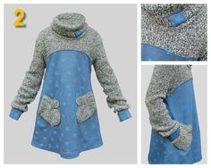 I like the idea of up-cycling a jumper into this dress with glove pockets Sewing Clothes, Diy Clothes, Clothes For Women, Baby Knitting Patterns, Sewing Patterns, Kids Outfits, Cool Outfits, Altering Clothes, How To Make Clothes
