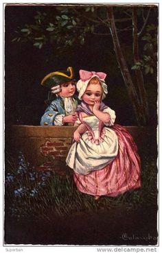 ART DÉCO : COUPLE D' ENFANTS De BELLE ÉPOQUE - ILLUSTRATION SIGNÉE: E. COLOMBO - ANNÉE: ENV. 1920 (k-711)