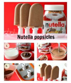Nutella popcicles.... I think I know 3 boys who would LOVE these!!
