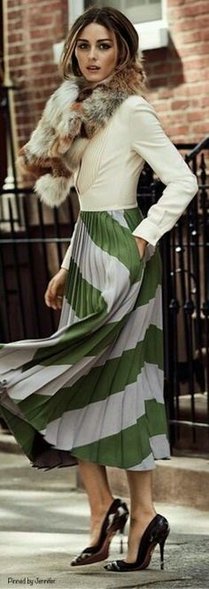 Olivia Palermo in pleated skirt street style