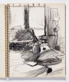 Diebenkorn, Graphite with ink wash, Page 045 from Sketchbook # 22 [interior; vase with flowers, windows]