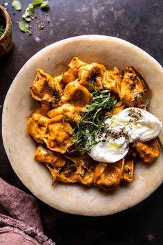 Creamy Roasted Red Pepper Tortellini   halfbakedharvest.com Tortellini, Pasta Recipes, Cooking Recipes, Healthy Recipes, Dinner Recipes, Linguine, Gnocchi, Creamy Pesto Pasta, Risotto