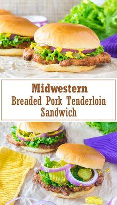 Breaded Pork Tenderloin Sandwich recipe via The Midwestern Breaded Pork Tenderloin Sandwich is a classic in America's heartland. A juicy, pan fried tenderloin needs only simple ingredients but brings big flavor! Breaded Pork Tenderloin, Pork Tenderloin Sandwich, Pork Tenderloin Recipes, Pork Recipes, Lunch Recipes, Great Recipes, Cooking Recipes, Sandwich Recipes, Pork Fillet