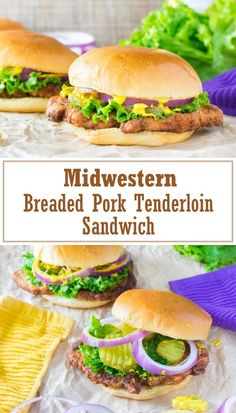 Breaded Pork Tenderloin Sandwich recipe via The Midwestern Breaded Pork Tenderloin Sandwich is a classic in America's heartland. A juicy, pan fried tenderloin needs only simple ingredients but brings big flavor! Pork Chop Sandwiches, Pork Sandwich, Sandwich Recipes, Pork Recipes, Lunch Recipes, Cooking Recipes, Cooking Pork, Cooking Beets, Game Recipes