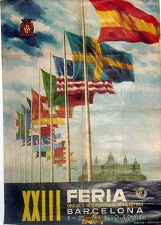 XXIII FERIA INTERNACIONAL DE MUESTRAS DE BARCELONA DEL 1 AL 20 DE JUNIO DE 1955, ILUSTRADO POR VELLVE JIMÉNEZ – 70 x 100 CMS.