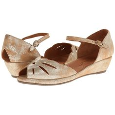 Gentle Souls Lily Moon (Gold Metallic Suede) Women's Wedge Shoes ($160) ❤ liked on Polyvore featuring shoes, sandals, wedge heel sandals, wedge heel platform shoes, gentle souls sandals, wedge sandals and breathable shoes