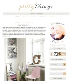 "Blogger Template Blog Theme ""Pretty Things"" // Simple Blog Template // Nude & Charcoal // Pre-made Blog // Blogspot // Premade Blog Design"