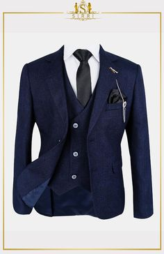 Keep your young man's style tight with this sleek suit set. Using a textured fabric with a rich midnight blue tone this is a complete boys suit set that has all you need for when you need a suit for a formal event. Shop now at SIRRI kids #childrens suits #boys 3 piece suit #kids wedding suits #boys communion suits