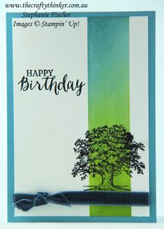www.thecraftythinker.com.au, Lovely As A Tree, Masculine card, Masking & Sponging, Stampin' Up!
