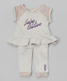 Look at this Juicy Couture Gray Peplum Top & Leggings - Infant & Toddler on #zulily today!