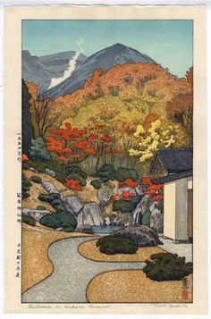 """""""Autumn in Hakone Museum,"""" 1954. Toshi Yoshida. I love the art nouveau style of this woodblock print."""