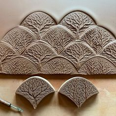 Playing with the idea of tangled deciduous woods. Three newly carved tree stamps for MORE variation.(The darker stamps are today's, the… Ceramic Tools, Ceramic Clay, Ceramic Pottery, Ceramic Texture, Clay Texture, Ceramic Workshop, Ceramic Studio, Pottery Tools, Pottery Classes