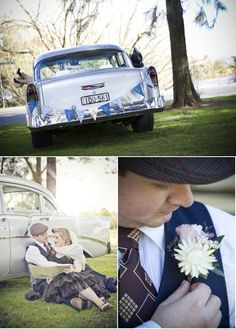 Love the Car Shot! 1950's inspired wedding