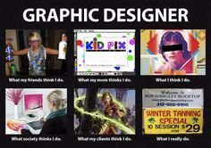 """""""What People Think I Do"""" - Graphic Designer this is a sad sad truth lol (sometimes)"""