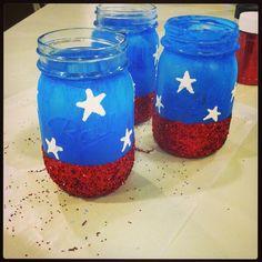 Merica Mason Jars I painted!