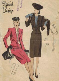 1940s Vogue S-4551 Special Design Vintage Sewing Pattern Misses Suit Dress Size 12 Bust 30 di midvalecottage su Etsy https://www.etsy.com/it/listing/193282053/1940s-vogue-s-4551-special-design