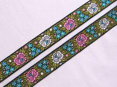 Swedish Jacquard Trim Floral Ribbon Braid Folk Costume Traditionnel Tissé Art